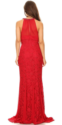 Ruched Bodice Floor Length Formal Dress Beaded Neckline Red