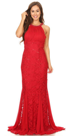 Celavie 8300 Ruched Bodice Floor Length Formal Dress Beaded Neckline Red
