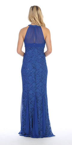 Celavie 8300 Ruched Bodice Floor Length Formal Dress Beaded Neckline Royal Blue Back View