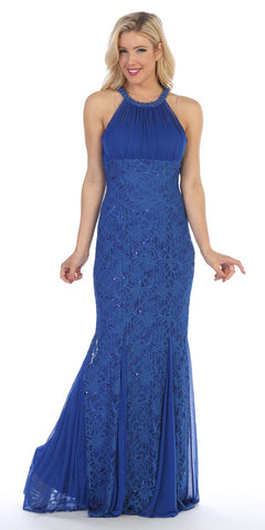 Celavie 8300 Ruched Bodice Floor Length Formal Dress Beaded Neckline Royal Blue