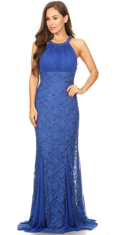 Ruched Bodice Floor Length Formal Dress Beaded Neckline Royal Blue