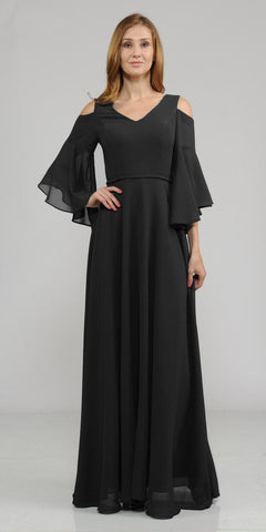 Cold-Shoulder V-Neck Long Formal Dress Bell Sleeve Black