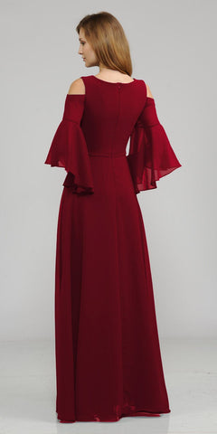 Cold-Shoulder V-Neck Long Formal Dress Bell Sleeve Burgundy
