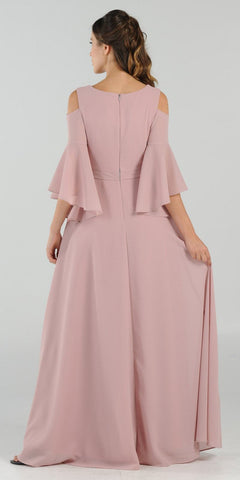 Cold-Shoulder V-Neck Long Formal Dress Bell Sleeve Mauve
