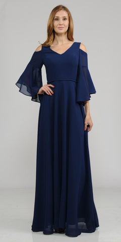 Cold-Shoulder V-Neck Long Formal Dress Bell Sleeve Navy Blue