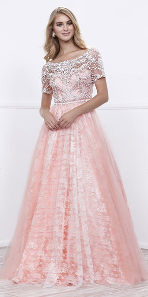 Pink Short Sleeves Beaded Bodice Lace Ball Gown with Tulle Overlay