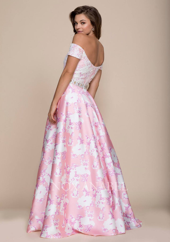 Nox Anabel 8301 Long Pink Satin Print Dress Lace Off The Shoulder Top