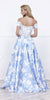 Lace Off-Shoulder Satin Print Skirt with Beaded Belt Prom Gown Blue