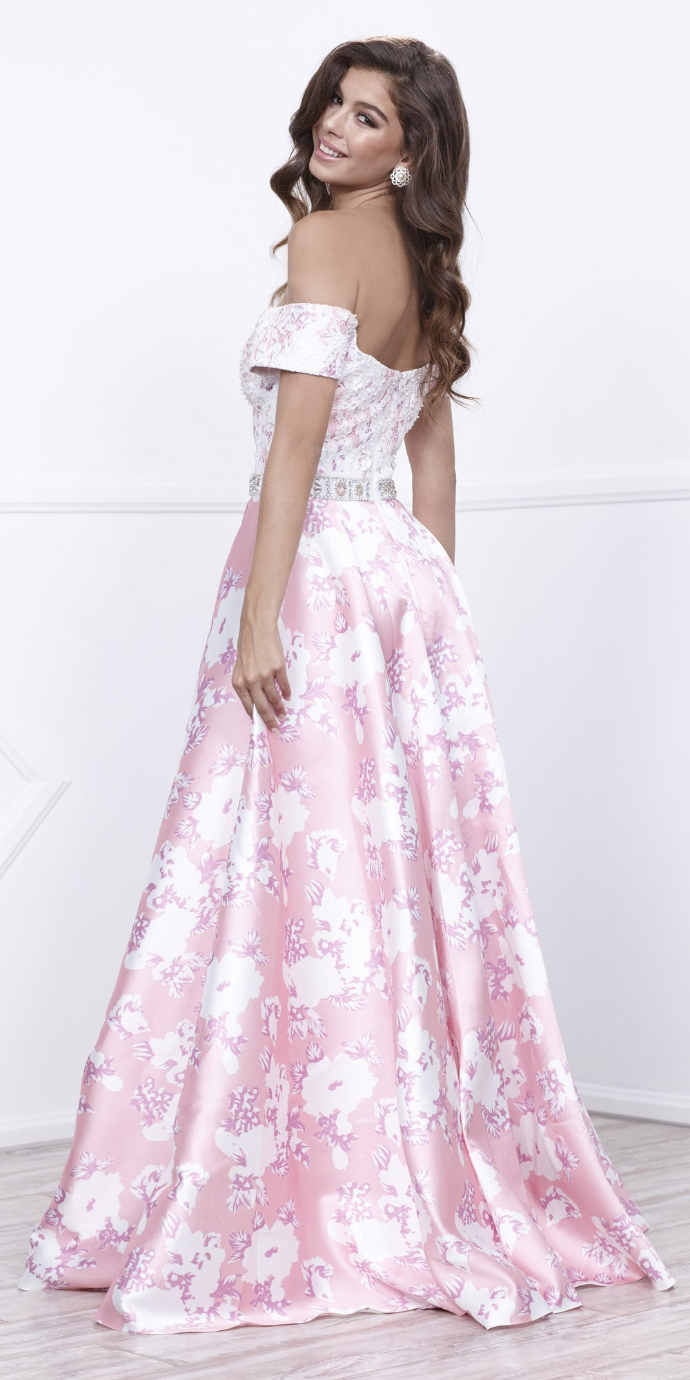 Lace Off-Shoulder Satin Print Skirt with Beaded Belt Prom Gown Pink
