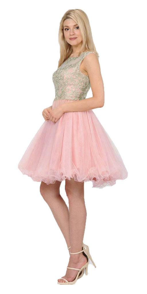 Blush Homecoming Short Dress Cut-Out Lace Up Back