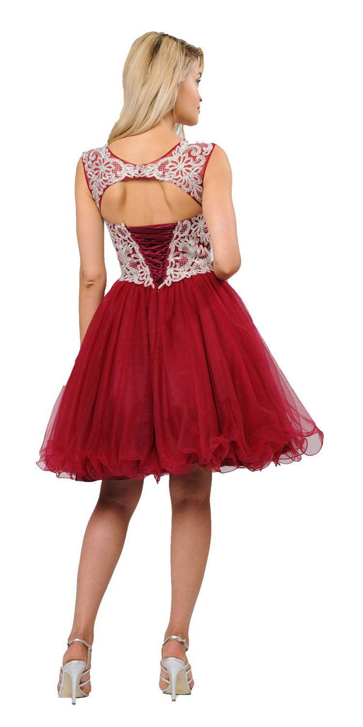 Burgundy Homecoming Short Dress Cut-Out Lace Up Back