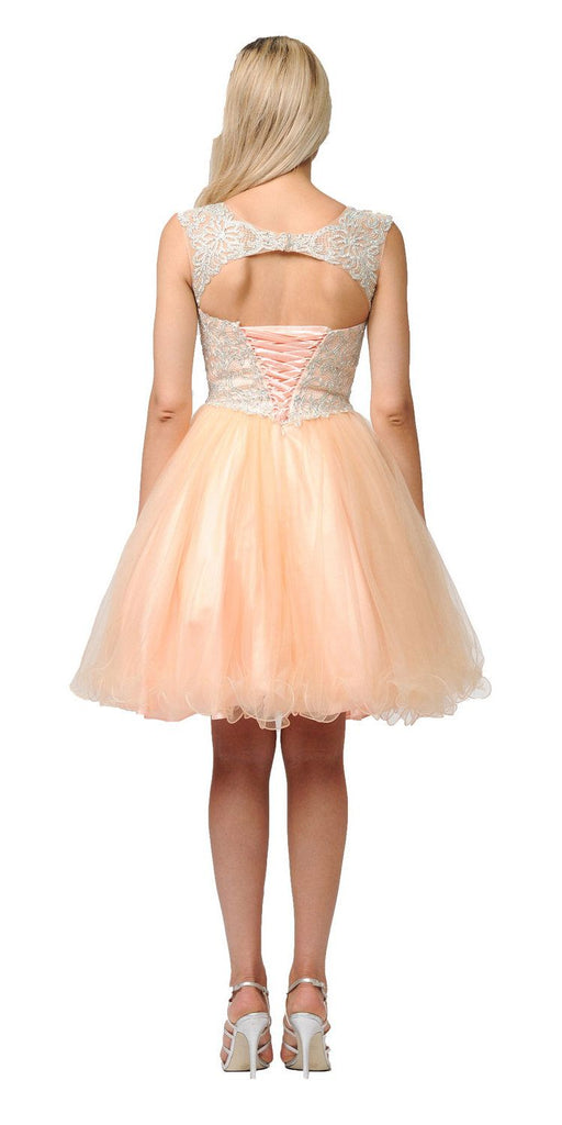 Champagne Homecoming Short Dress Cut-Out Lace Up Back