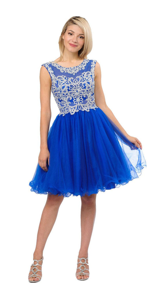 Royal Blue Homecoming Short Dress Cut-Out Lace Up Back