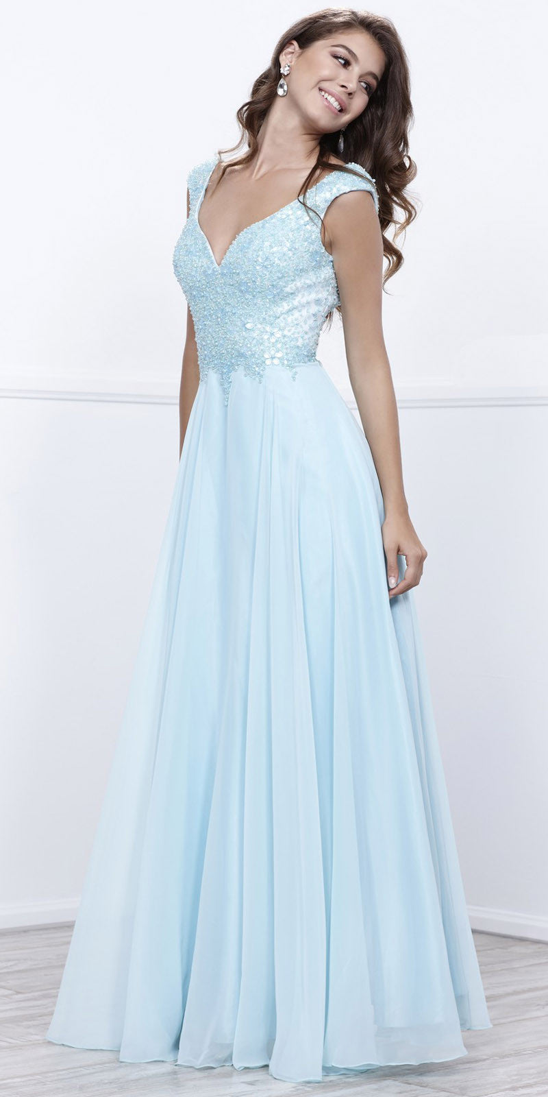 Encrusted V-Neck Bodice Low Back A-line Long Formal Dress Ice Blue