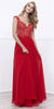 Encrusted V-Neck Bodice Low Back A-line Long Formal Dress Red