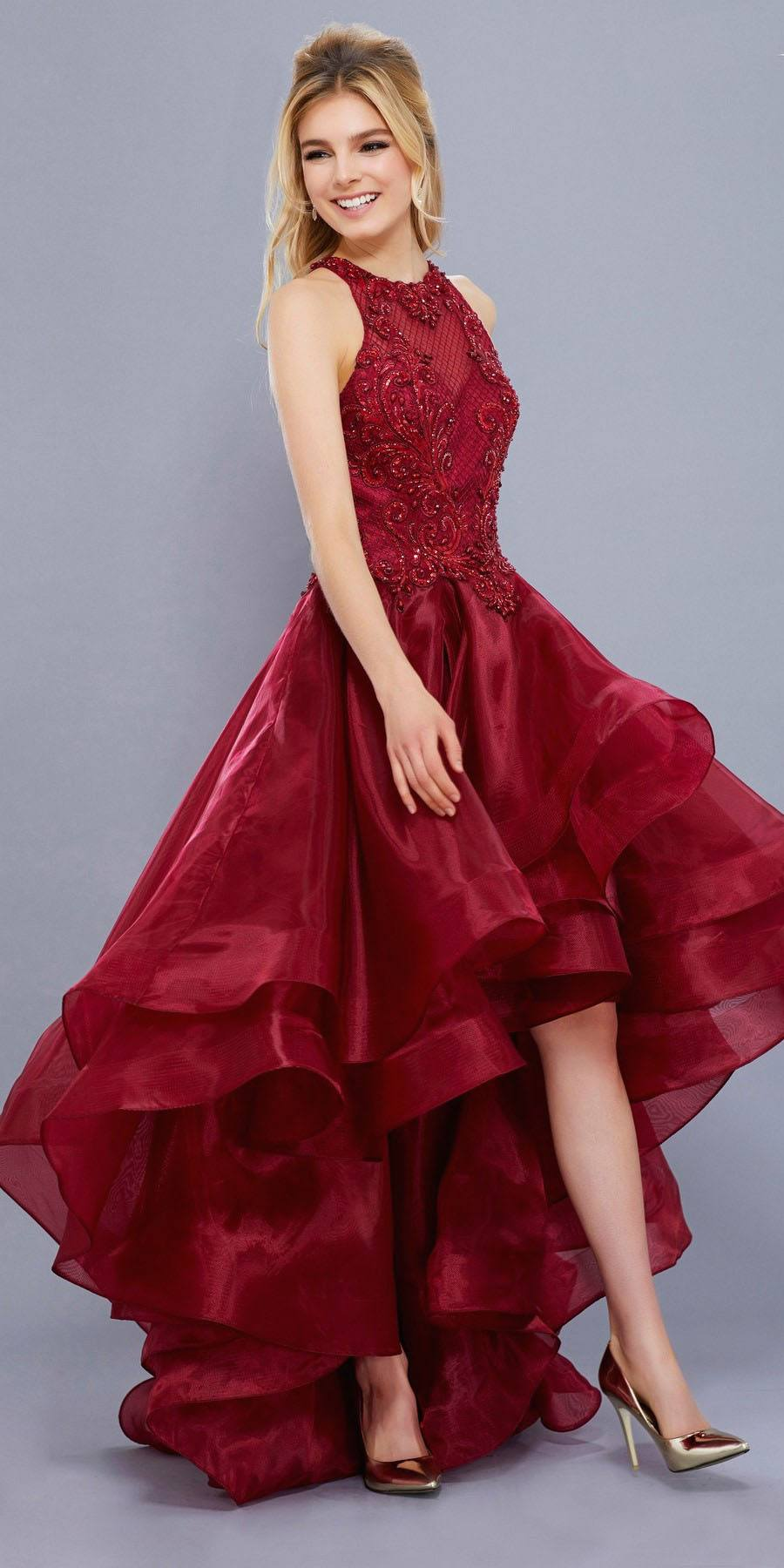 Red High-Low Prom Dress with Bead Applique Bodice and ...Red High Low Prom Dresses 2013