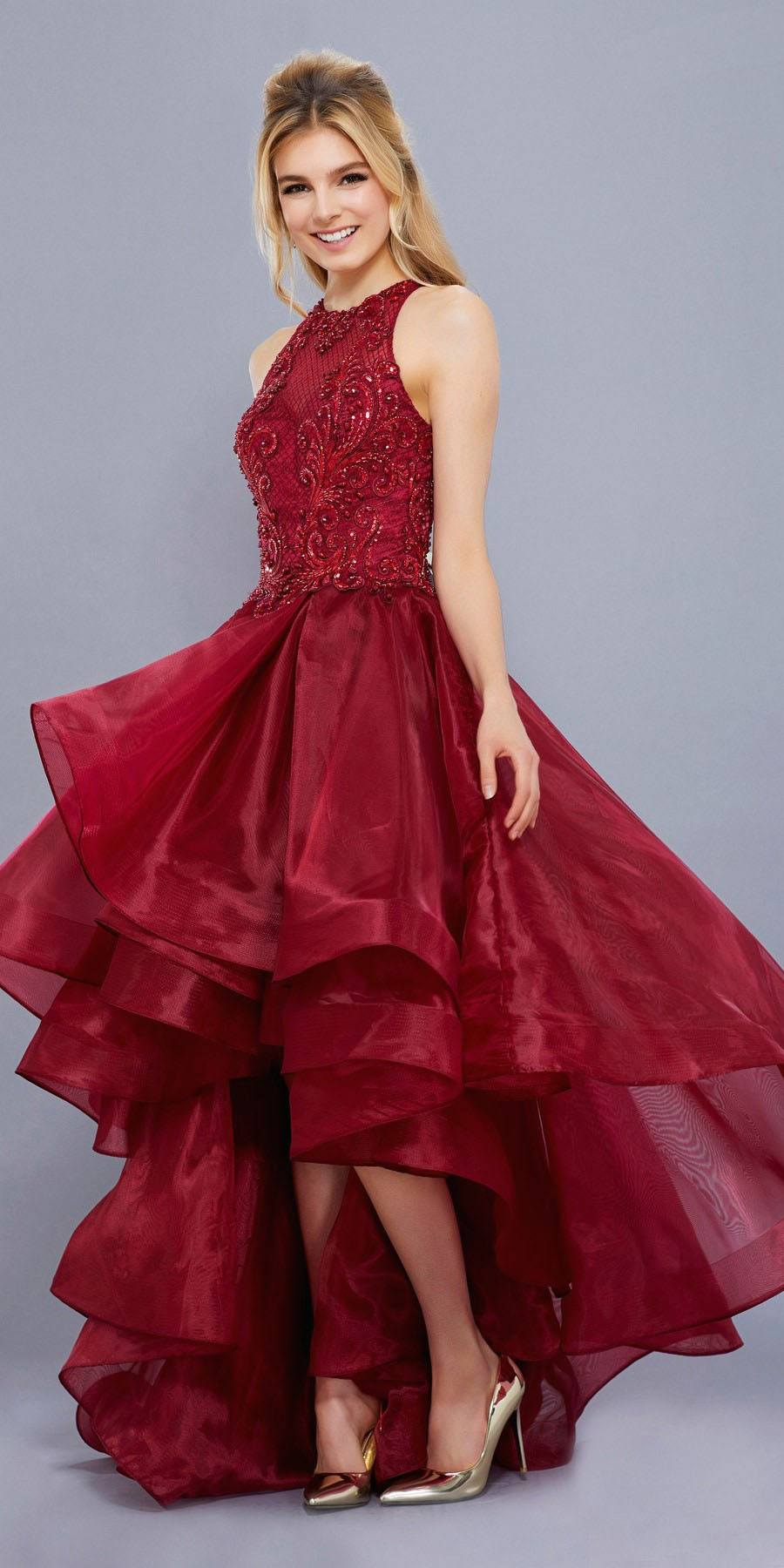 7c5420031ff Red High-Low Prom Dress with Bead Applique Bodice and Train ...