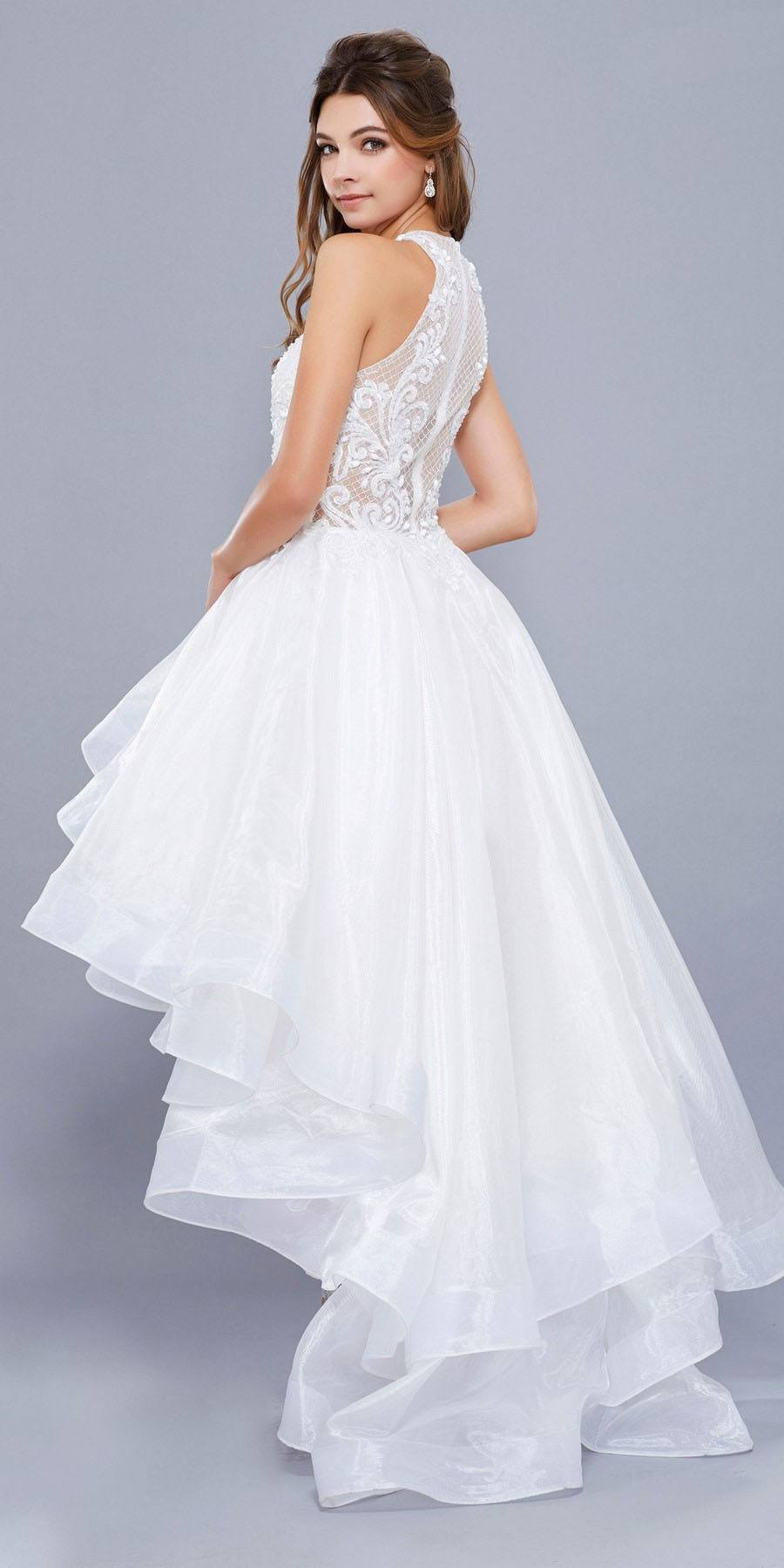 White High-Low Prom Dress with Bead Applique Bodice and ...