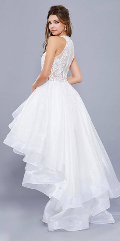 White High-Low Prom Dress with Bead Applique Bodice and Train