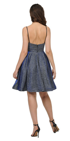 Metallic Short Party Dress V-Neck with Spaghetti Straps Royal Blue