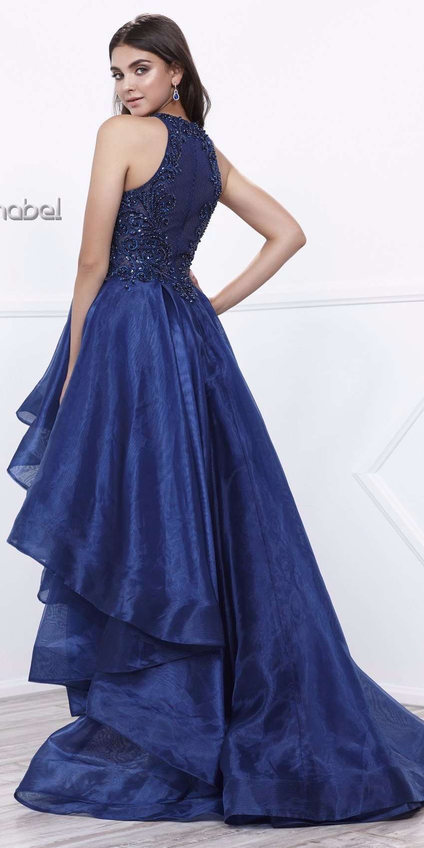 9089684d0d6 Navy Blue High-Low Prom Dress with Bead Applique Bodice and Train ...