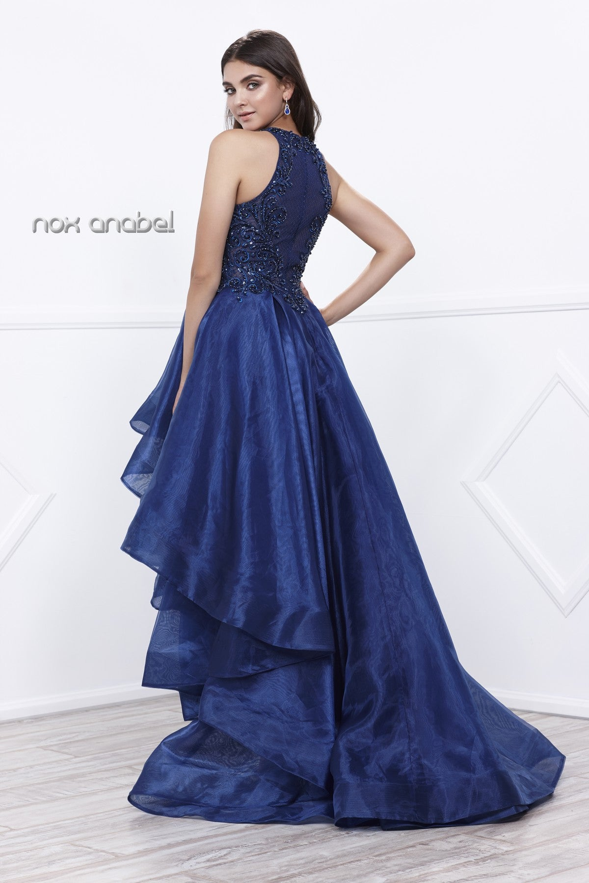 445125ac5f9 ... Navy Blue High-Low Prom Dress with Bead Applique Bodice and Train ...