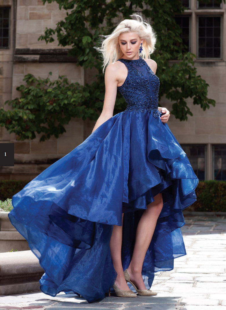 55ffeeb993c ... Navy Blue High-Low Prom Dress with Bead Applique Bodice and Train ...