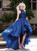 Navy Blue High-Low Prom Dress with Bead Applique Bodice and Train