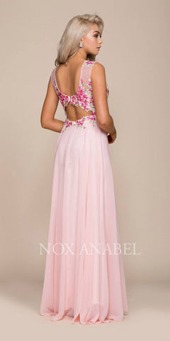 Illusion Pink Appliqued Sleeveless Cut-Out Back Formal Dress Long