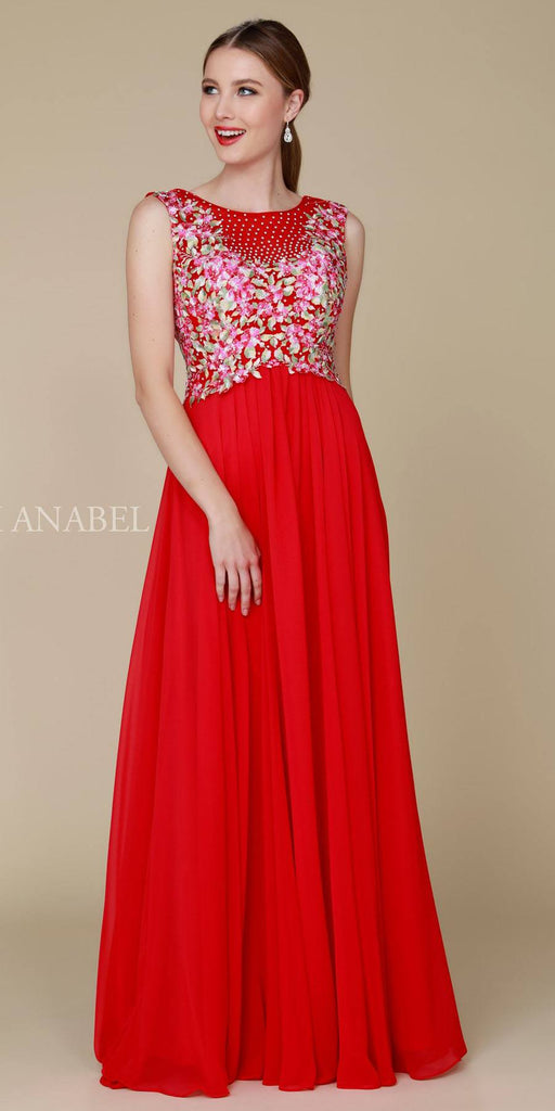 Nox Anabel 8306 Long Red A-Line Dress Flower Applique Empire Waist