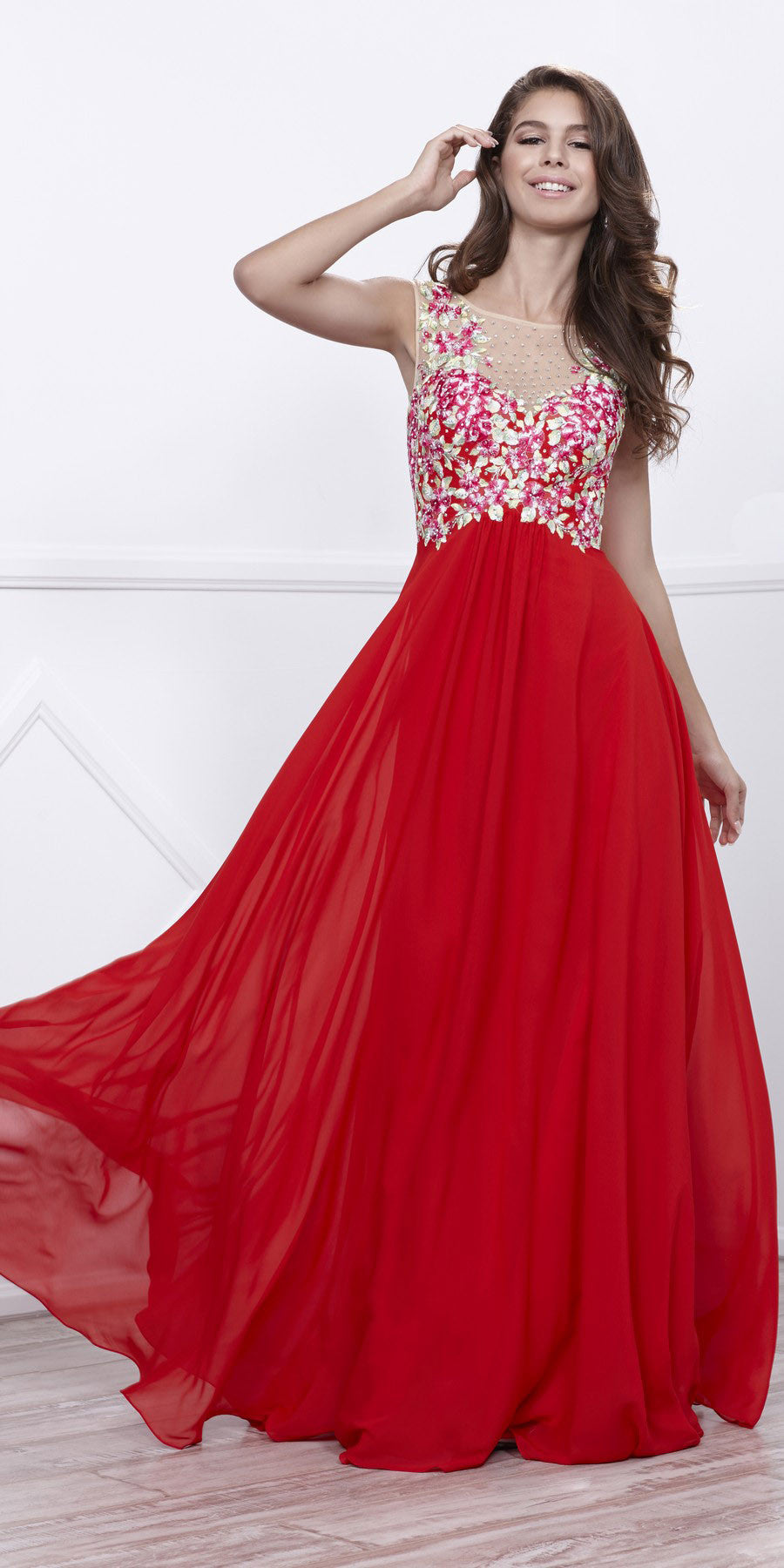 Illusion Red Appliqued Sleeveless Cut-Out Back Formal Dress Long