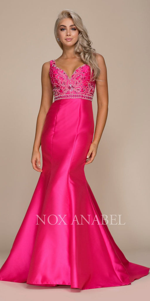 Nox Anabel 8307 Long Fuchsia Mermaid Gown Satin Beaded Bodice Sleeveless
