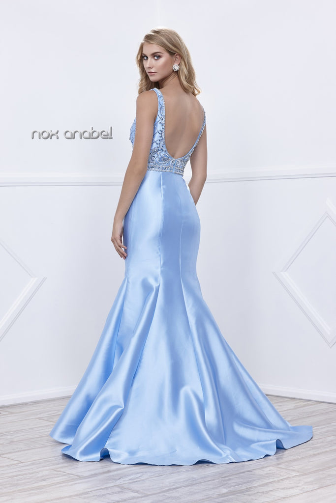 Nox Anabel 8307 Ice Blue Satin Mermaid Gown with Beaded Bodice Plunging Neck