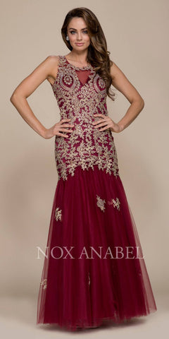 Nox Anabel 8308 Burgundy-Gold Long Mermaid Tulle Dress Open Back with Cut-Out Neckline