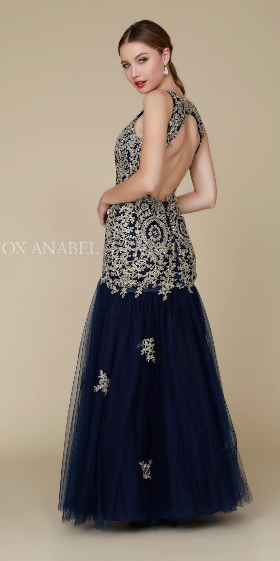c26414ed28cb ... Navy-Gold Long Mermaid Tulle Dress Open Back with Cut-Out Neckline