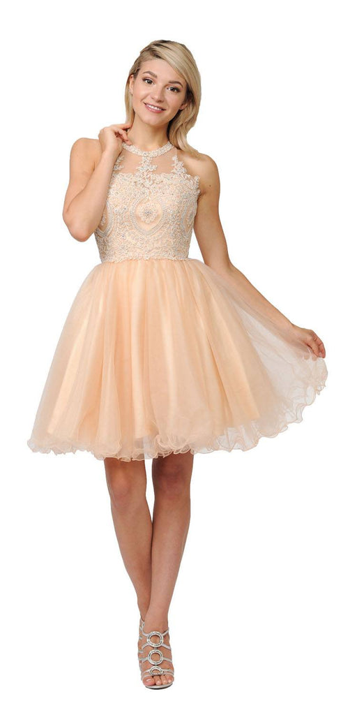 Appliqued Short Homecoming Dress Strappy Back Champagne