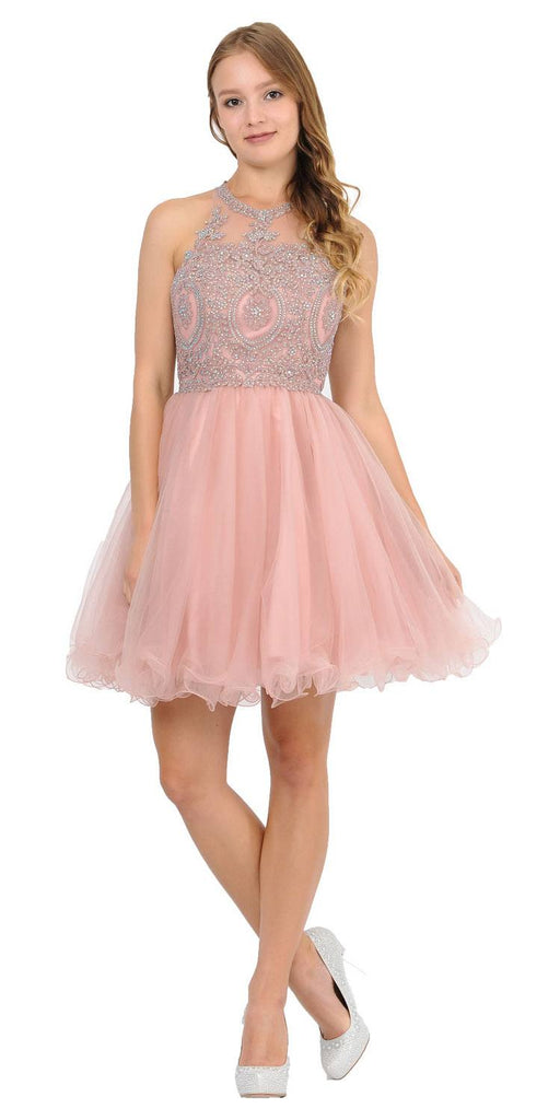 Appliqued Short Homecoming Dress Strappy Back Mauve