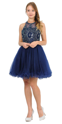 Appliqued Short Homecoming Dress Strappy Back Navy Blue
