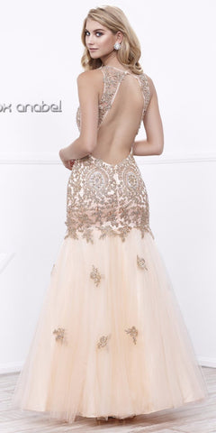 Nude-Gold Long Mermaid Tulle Dress Open Back with Cut-Out Neckline