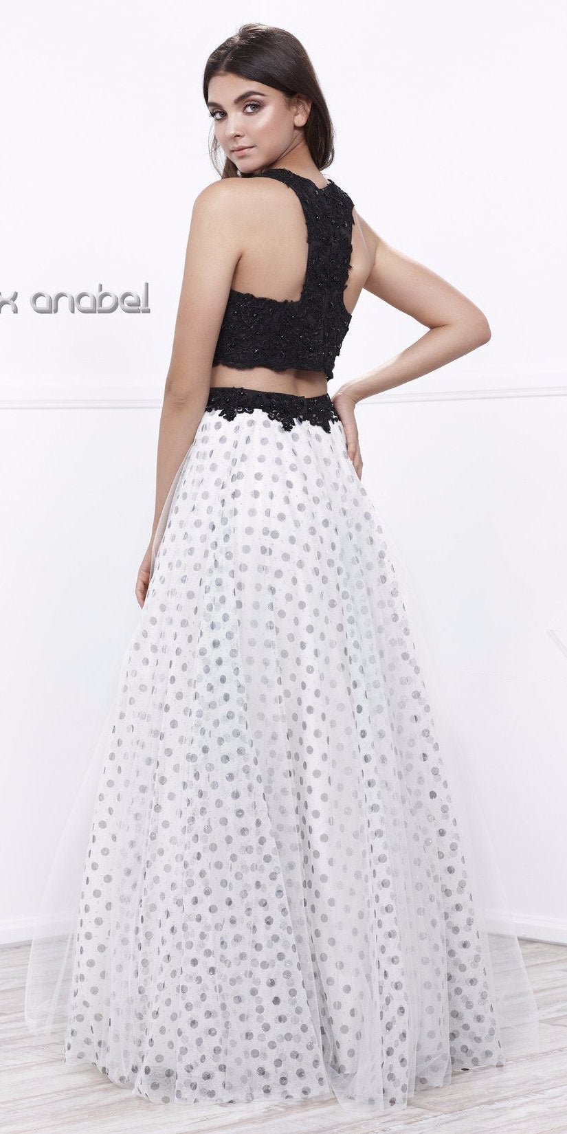 45c85991bb Black Beaded Top White Polka Dot Skirt Two Piece Prom Dress Long