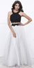 Black Beaded Top White Polka Dot Skirt Two-Piece Prom Dress Long