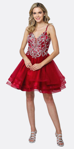Juliet 831 Beaded Bodice Tiered Short Dress Burgundy Criss-Cross Back