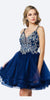 Juliet 831 Short Navy Blue Homecoming Dress Tulle Skirt V Neckline Criss Cross Back