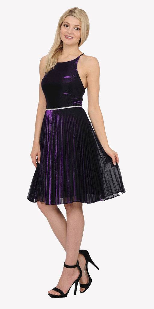Purple Metallic Short Party Dress Strappy Open Back
