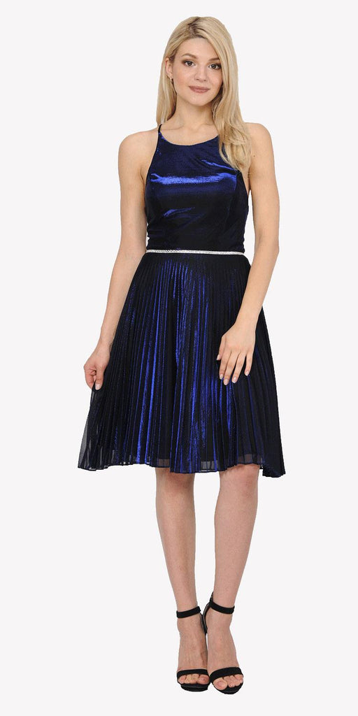 Royal Blue Metallic Short Party Dress Strappy Open Back