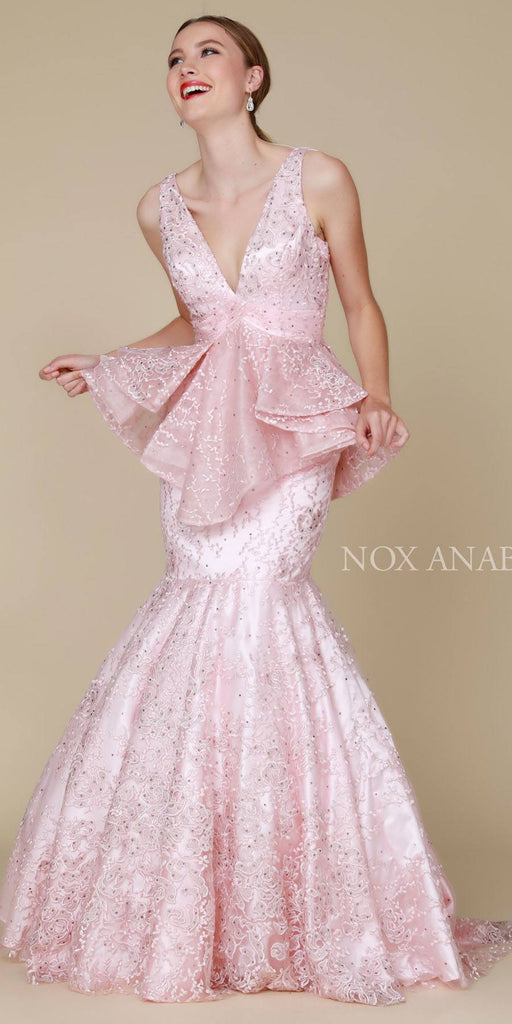 Nox Anabel 8311 Long Blush Trumpet Dress V-Neck Ruffled Tiered Peplum