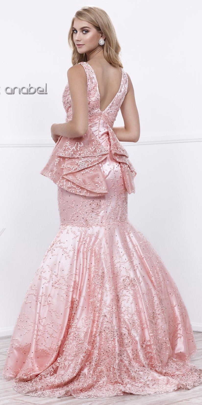Bashful Pink V-Neck Tiered Peplum Mermaid Long Gown with Train
