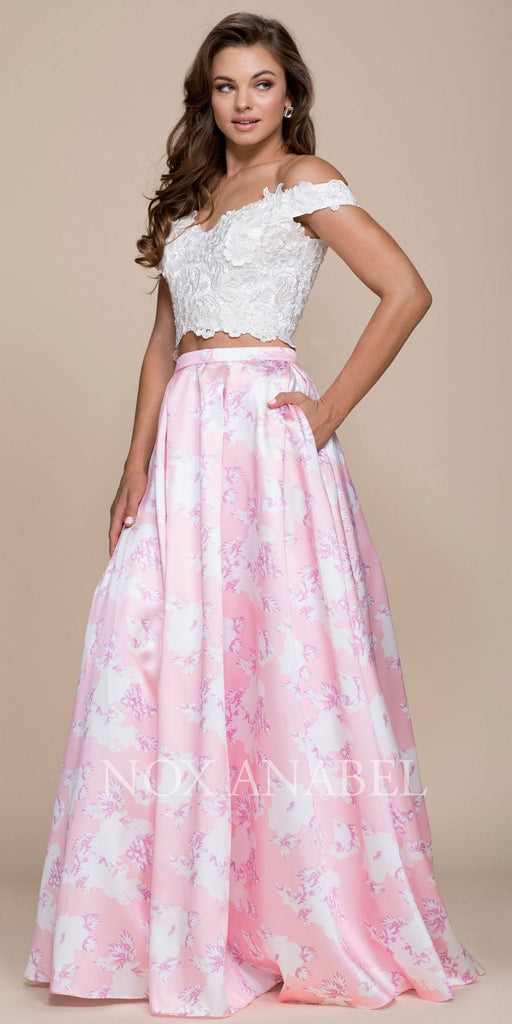 Nox Anabel 8312 Long 2-Piece Print Pink Dress Lace Top Satin Floral