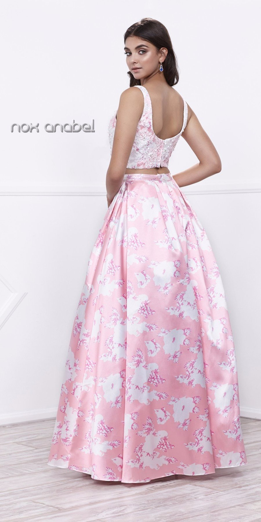 3d6533685a24a Lace Top Satin Floral Printed Skirt Two-Piece Prom Dress Long Pink