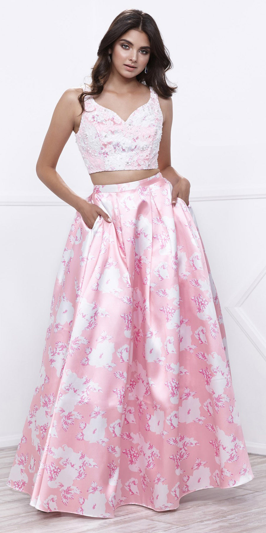82a2b4f7812d5 Lace Top Satin Floral Printed Skirt Two-Piece Prom Dress Long Pink. Tap to  expand